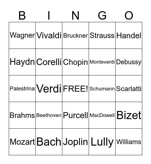 Composer Bingo Card