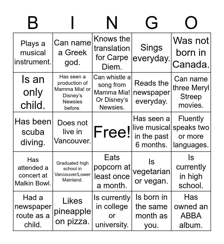 TUTS BINGO! Can you find someone who... Bingo Card