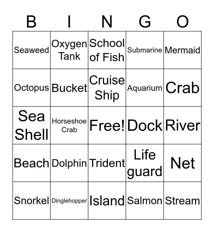 Under the Sea Bingo Spring 2019 JReaM Retreat Bingo Card