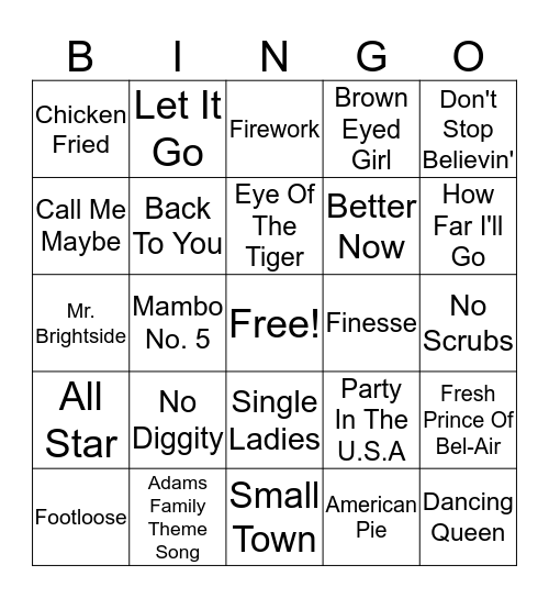 LVC Song Bingo Card