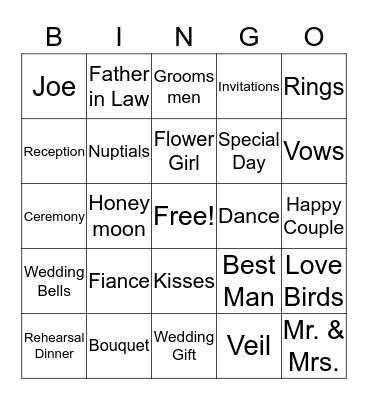 Tammy's Bridal Shower Bingo Card