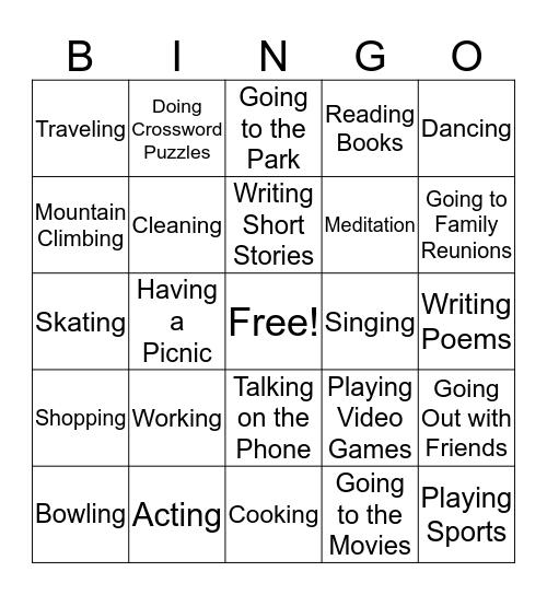 Things I Like to Do Bingo Card