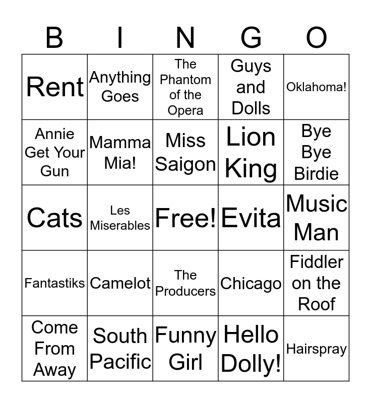 The PAC's First Friday Broadway Bingo Card