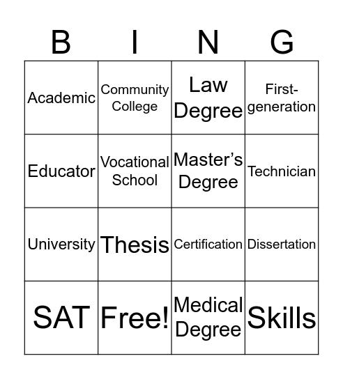 College and Careers Bingo! Bingo Card