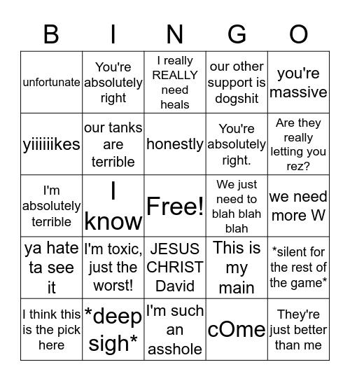 DAVID Bingo Card