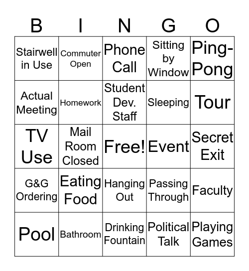 Corum Bingo Card