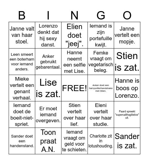 EMMA Bingo Card