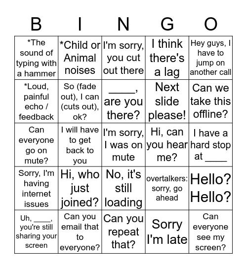 Devnext Conference Call Bingo Card