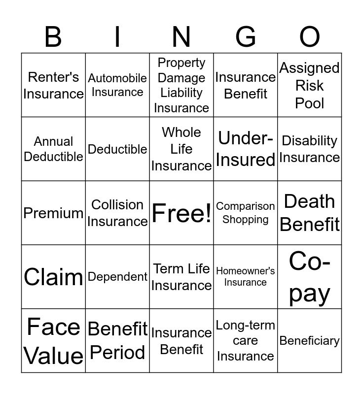 WISE TEST BINGO- INSURANCE Bingo Card