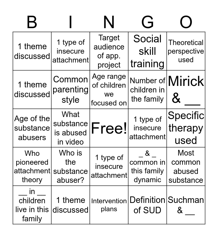 Fam 400 Presentation Bingo Card