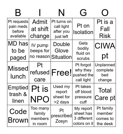 Step-down ICU Nurses Week Bingo Card