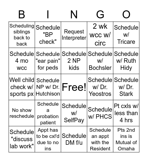 Call Center Bingo Card