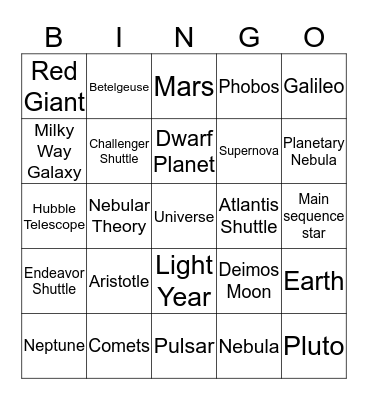 Space Bingo Card