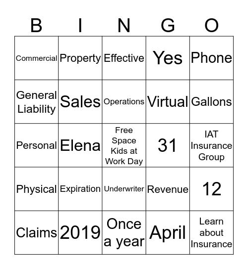 Premium Audit Bingo Card