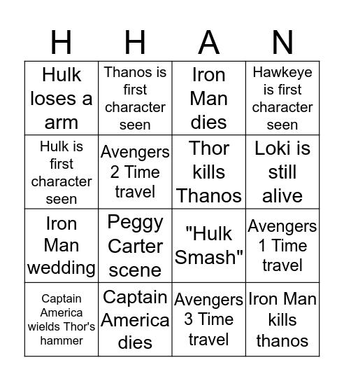 Avengers Endgame Bingo Card