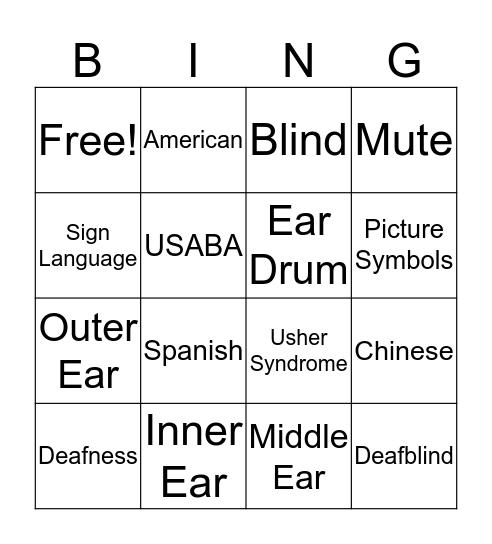 American Sign Language  Bingo Card