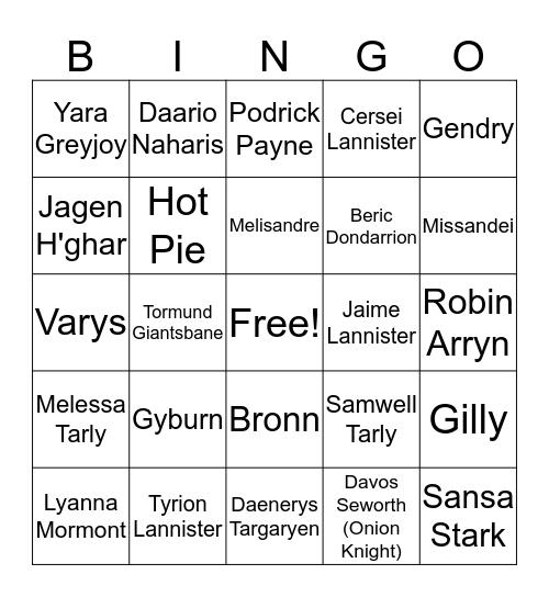 GOT Dead-O Bingo Card