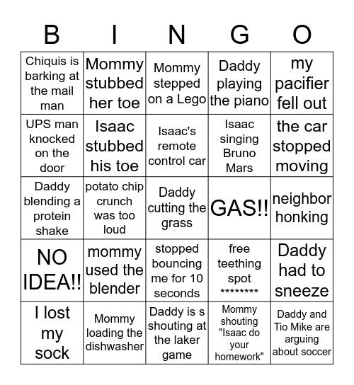 What Woke Baby Up?? Bingo Card