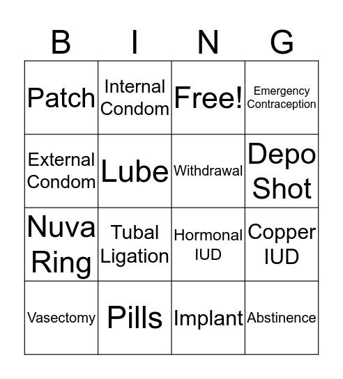 Birth Control Bingo Card
