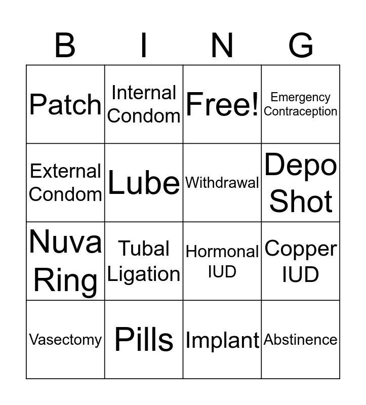 Birth Control Bingo Card