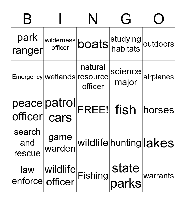 conservation officer Bingo Card