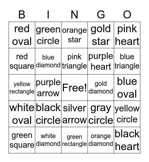 Color and Shape Bingo Card