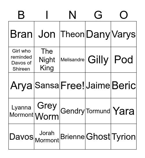 Battle of Winterfell Bingo Card