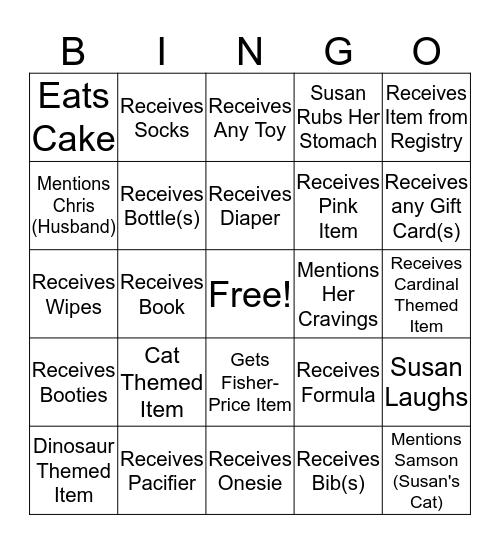 Susan's Baby Shower Bingo! Bingo Card