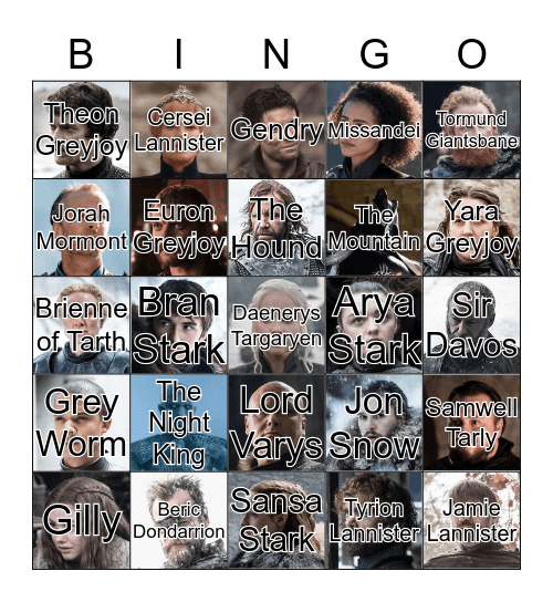 Game of Thrones S8 Bingo Card