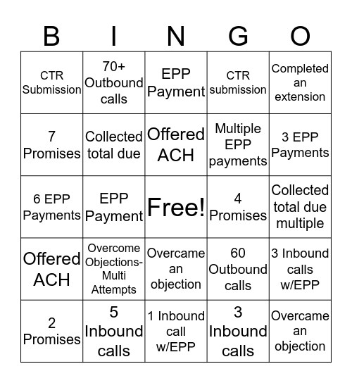 Collections  Bingo Card