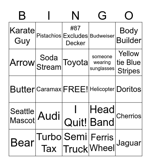Bronco Bingo Card
