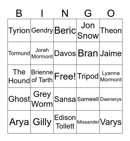 GoT Death Bingo Card
