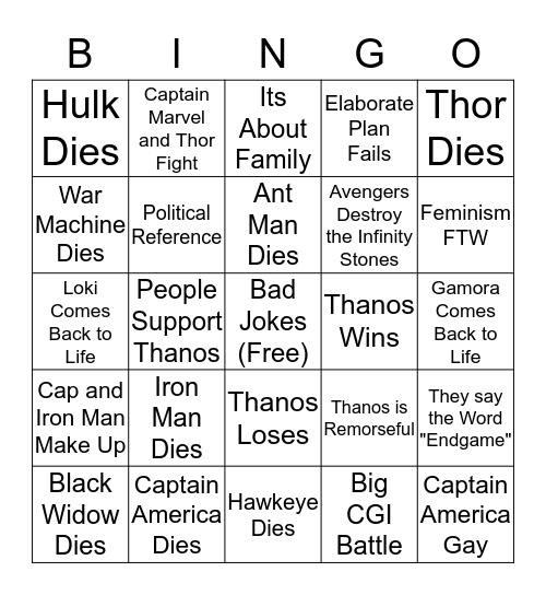 Avengers: Endgame Bingo Card