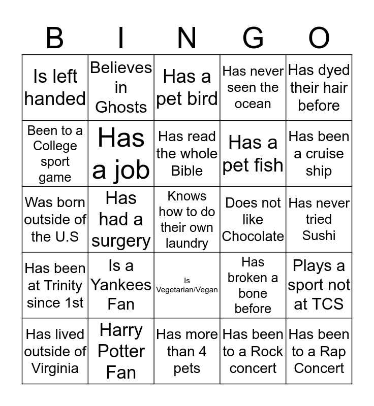 Bible Study Bingo! Find someone who....  Bingo Card