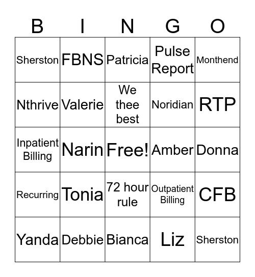 Medicare Team  Bingo Card