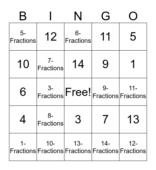Math Bingo  Bingo Card