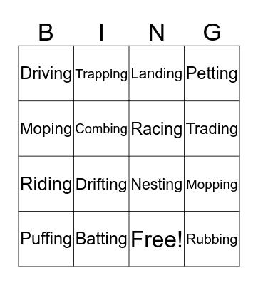 Work Work Bingo Card