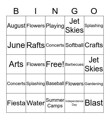 Summer Fun Bingo Card