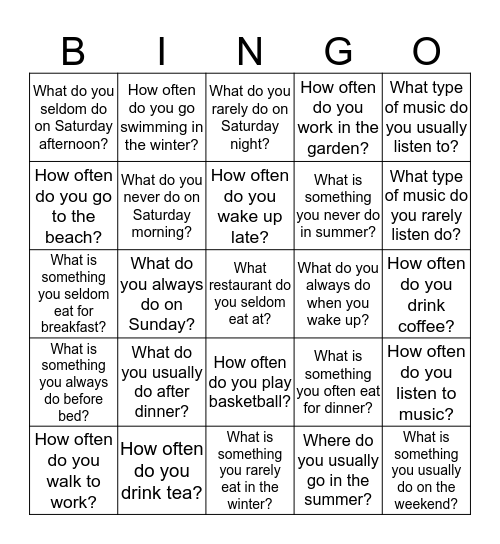 Adverbs of Frequency Bingo Card