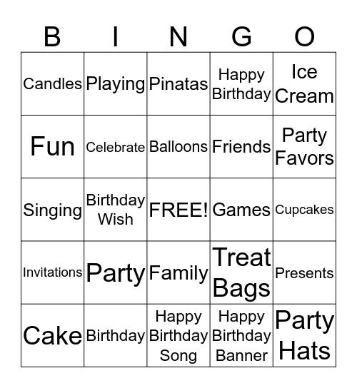 Let's Party Bingo Card