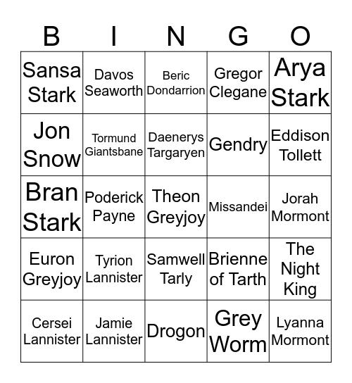 Valar Morghulis Bingo Card