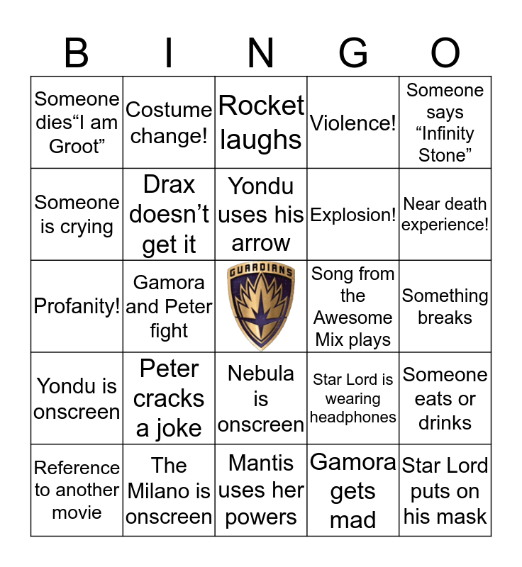 Guardians of the Galaxy Bingo Card