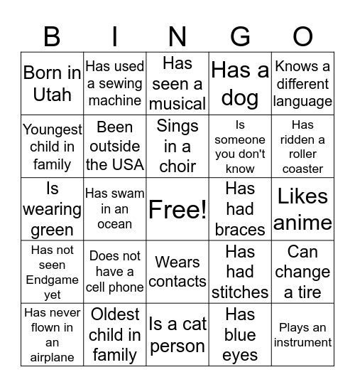 Team Building Bingo Card