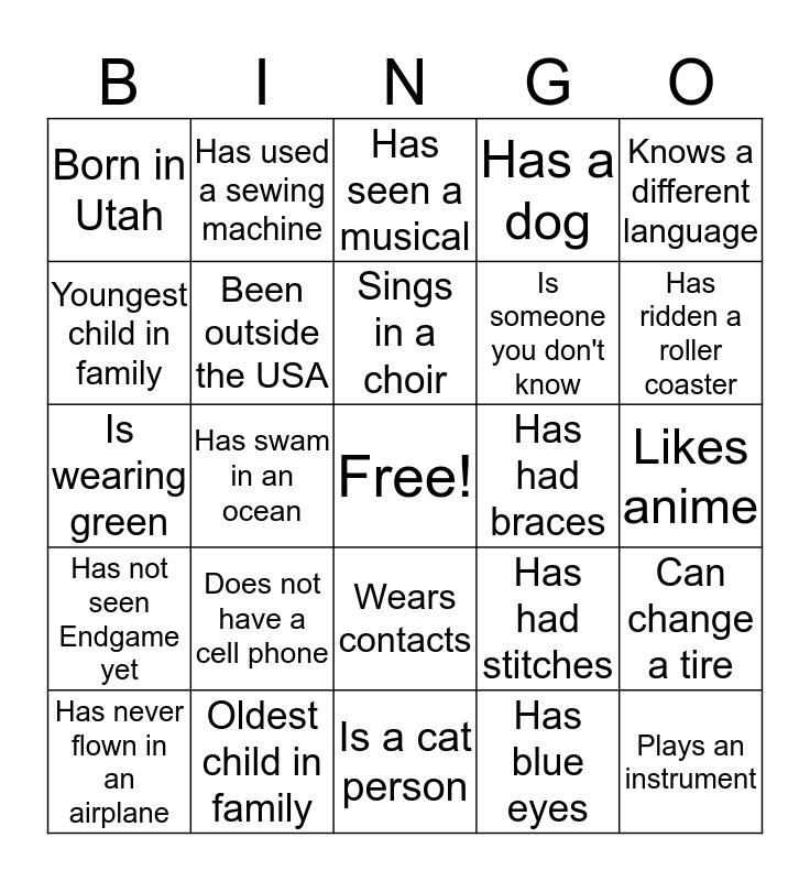 Team Building Bingo Card