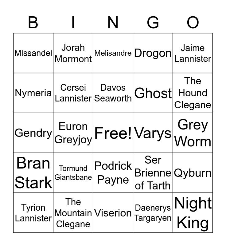 QC GAME OF THRONES BINGO Card