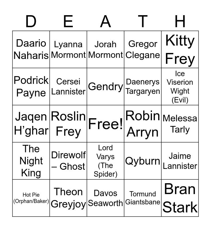 Game of Thrones - Through the Tears Bingo Card