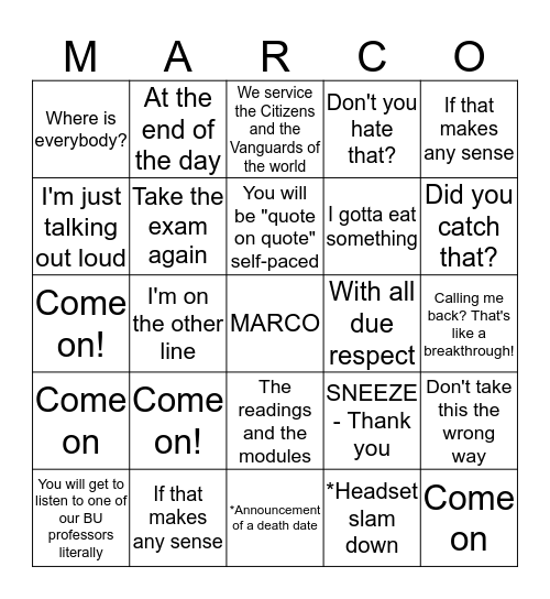 MARCO Bingo Card