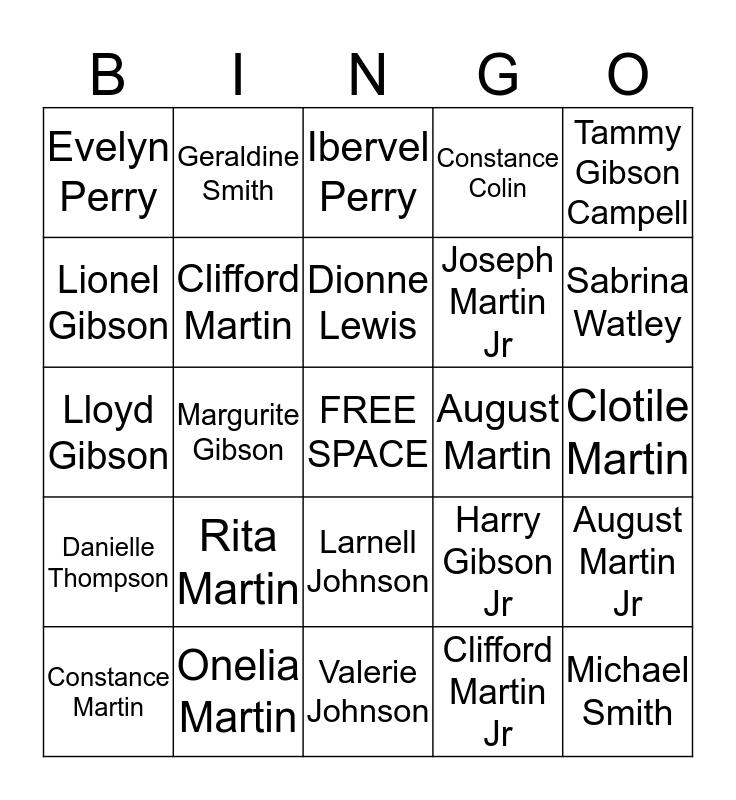 Martin Family Reunion Bingo Card
