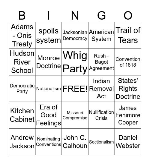 chapter 8 - 9 vocab Bingo Card
