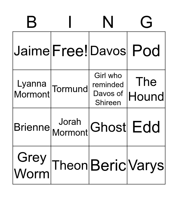 S08E03 Bingo Card